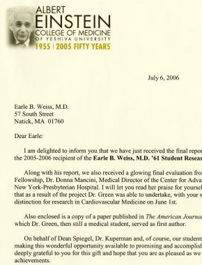 Earle B. Weiss, MD '61 Student Research Fellowship